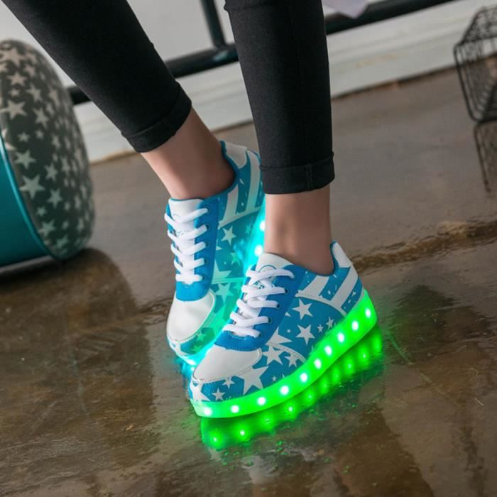 Star Printing LED flash 7 color changing USB charging unisex casual shoes chaussure lumineuse led