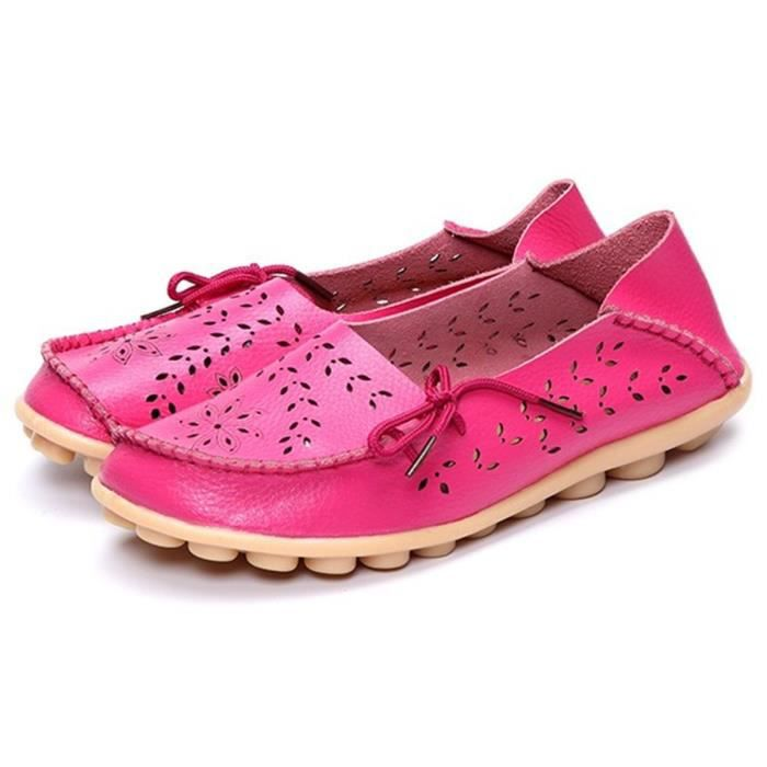 Leather Casual Loafer Shoes, Gracosy Floral Hollow Out Driving Casual Shoes Indoor Flat Slip-on Slip W0Q1Z Taille-36 1-2