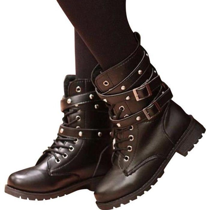 6cc733879 Minetom Femme Mode Rock Rivets Lacets Bottes Motard Cuir PU Moto Bicyclette  Cheville Bottines Chaussures à Plat