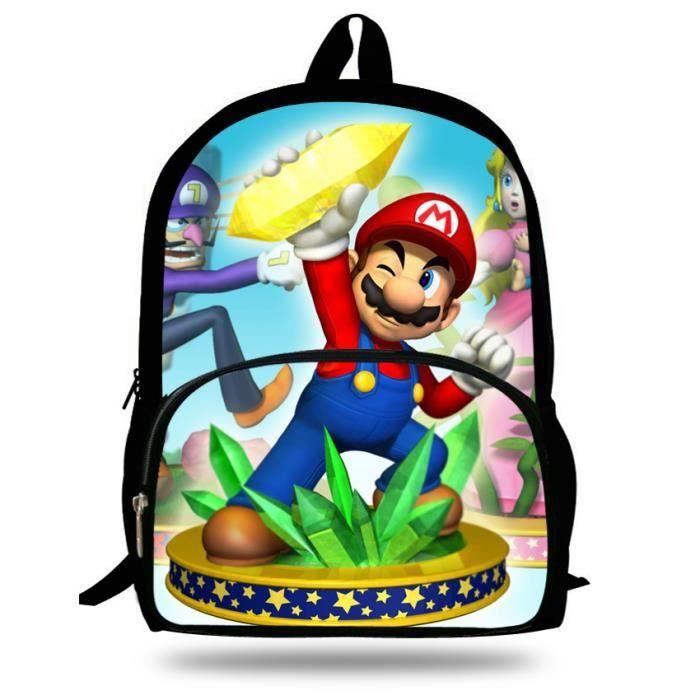 en soldes b3ead 11758 VEEWOW Sac à dos de 16 pouces mode cartable dessin animé Super Mario Print