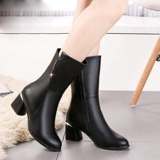 Noir Place Chaussures Hautes Talons Mi Bottines Slip Femmes Bottes OZiuTPkX