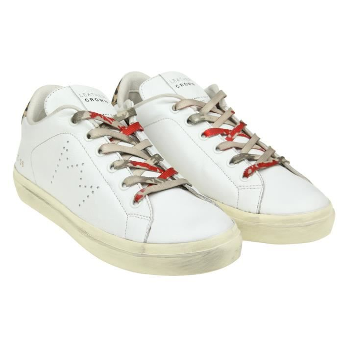 LEATHER CROWN FEMME WLC064 BLANC CUIR BASKETS