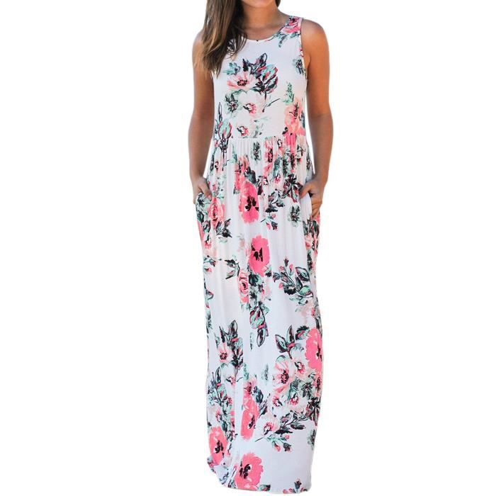 Womens Elegant Floral Print Summer Beach Long Maxi Dresses With Pockets 1E57S9 Taille-40