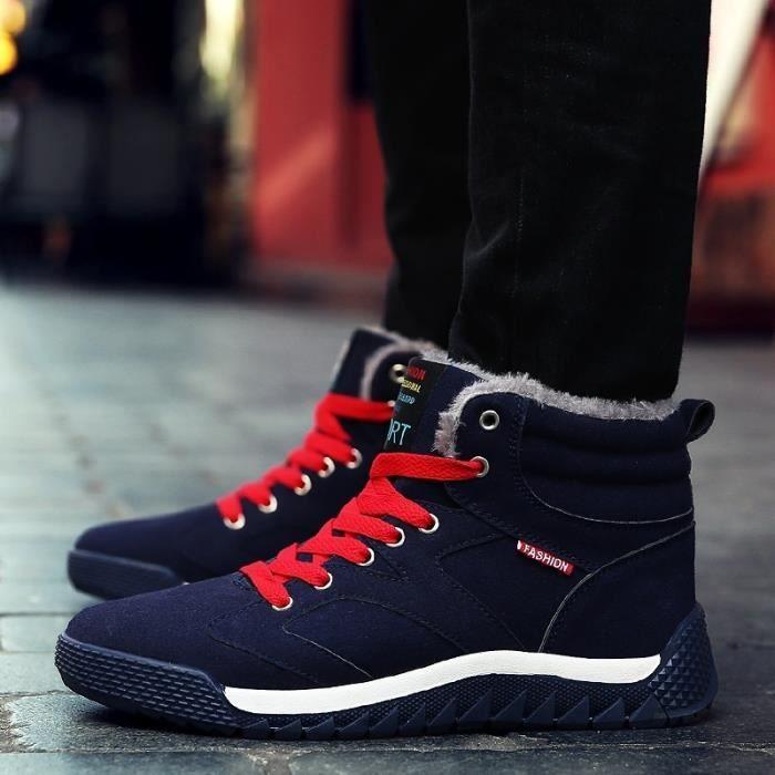 Botte Homme New Fashion Lace Up plat Skid résistance Skater hommes noir taille9.5