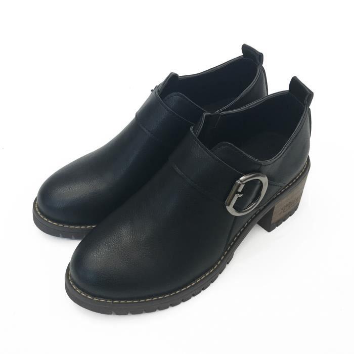 bottes bottes chaussures moto style PU 35 2017 chaudes unie femmes couleur de classique marron dames bottillons tPpRwO