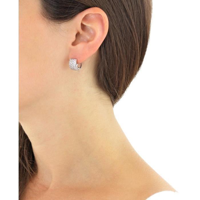 Boucles Doreille - Femme - Or Blanc (9 Carats) 2.4 Gr - Oxyde De Zirconium TNJ7N