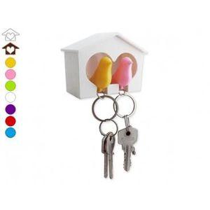 ARMOIRE - BOITE A CLÉ Cabanon range-clés avec couple d'inséparables caba