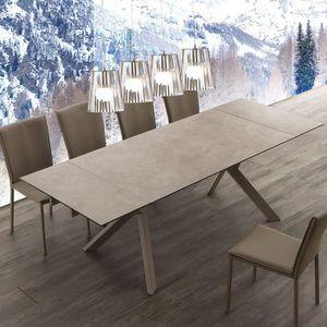 TABLE À MANGER SEULE Table extensible taupe en céramique design SIRIUS