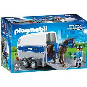 FIGURINE - PERSONNAGE PLAYMOBIL 6922 Policière avec Cheval et Remorque
