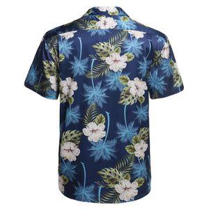 CHEMISE - CHEMISETTE Mode Homme Chemises hawaïennes Loose en satin flor