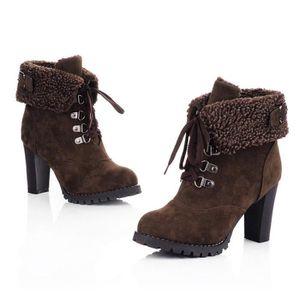 BOTTINE seasondu Femmes à lacets haut épais Bottes Chaussu