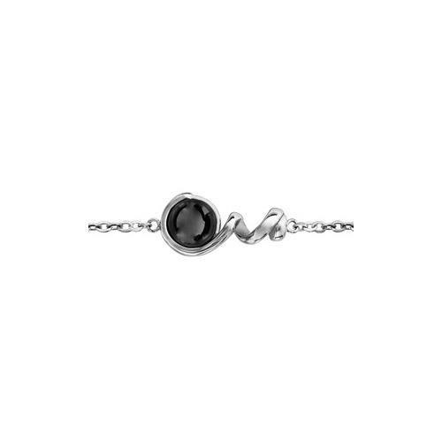 Bracelet acier spirale et boule céramique noire 16