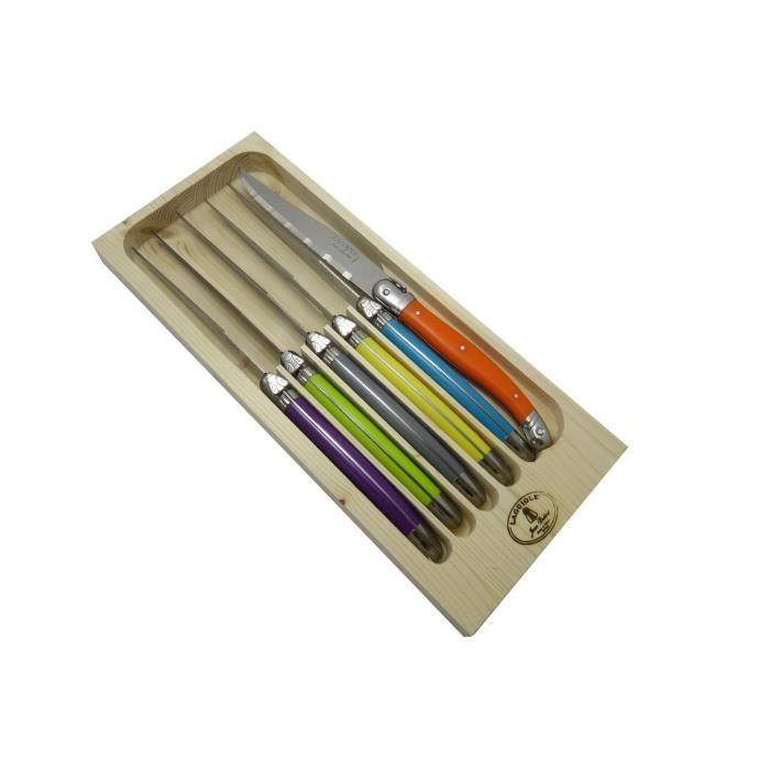 LAGUIOLE Lot de 6 couteaux - 1,2 mm - Lame Inox - Manche ABS couleurs trendy