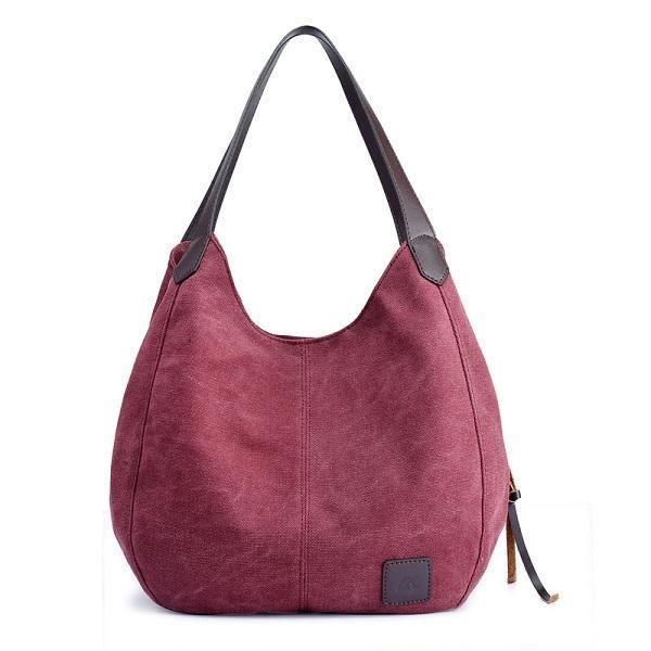 SBBKO2542FemmesQualitéToileThreeLayerLarge Capacity Casual Vintage Handbag Shoulder Bag Violet