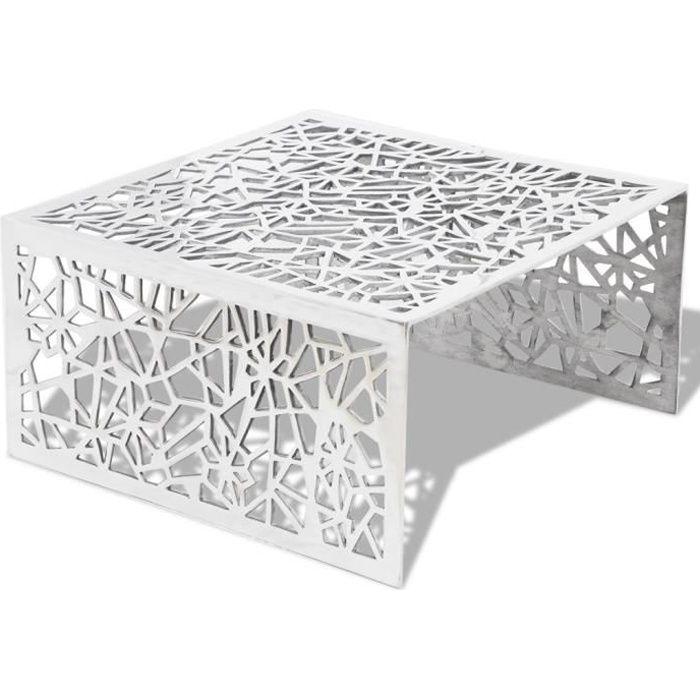 49b2c260a5ed8 Magnifique Table basse en aluminium avec design geometrique ajoure Argent