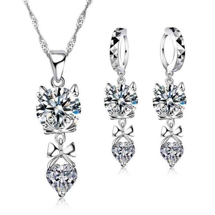 Parure bijoux chat noeud papillon coeur oxyde de zirconium argent 925