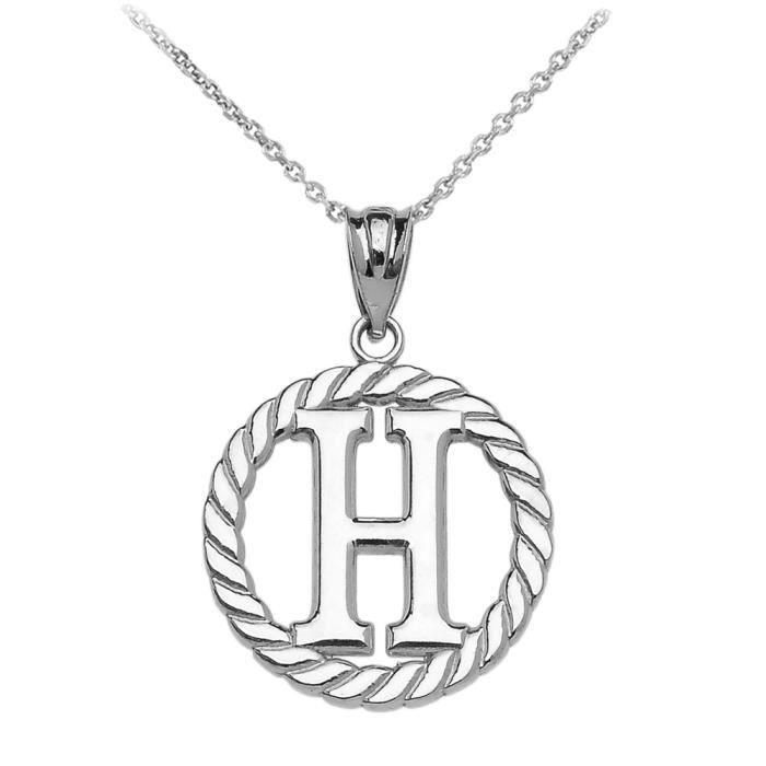 Collier Femme Pendentif 14 Ct Or Blanc H Initiale À Corde Cercle (Livré avec une 45cm Chaîne)