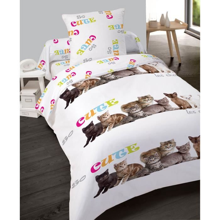 f05947e19a45d3 Housse de couette 140x200cm et une taie So cute Chat - Achat   Vente ...