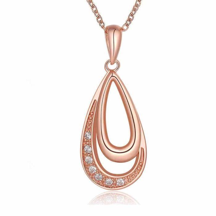 Collier pendentif Doré or rose 750/00 18K carats Bijou fantaisie haut de gamme Cristal Strass Femme Rose Anneaux Teide
