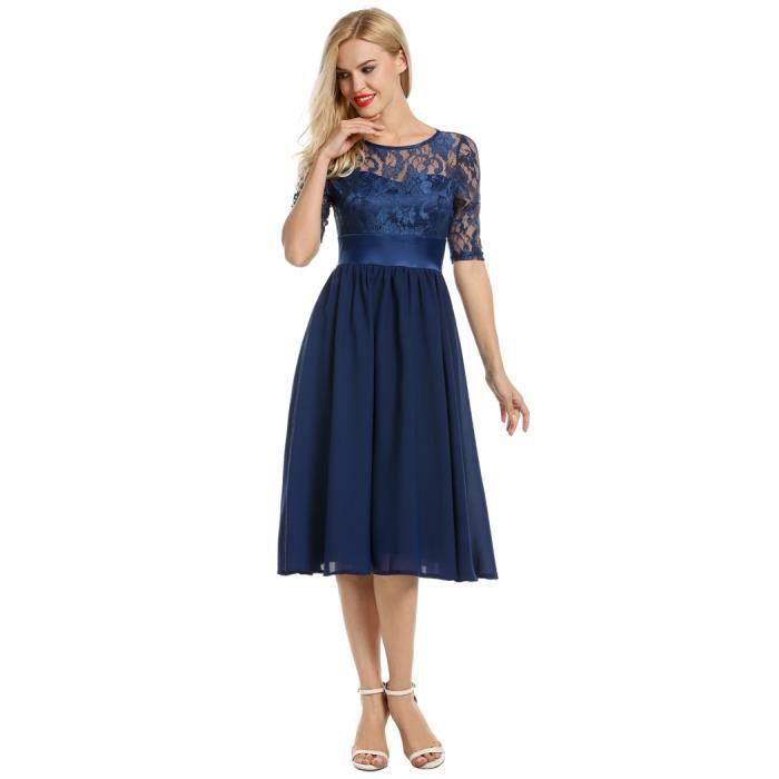 robe femmes Floral dentelle manches courtes soirée mariage robe plissée