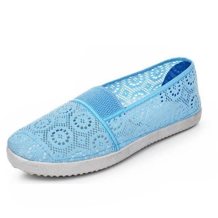 Chaussures pour Femmes Lace Ajouré Moccasins Femme style chinois Nouvelle Mode chaussures plates Plusieurs couleurs 35-40,bleu,35