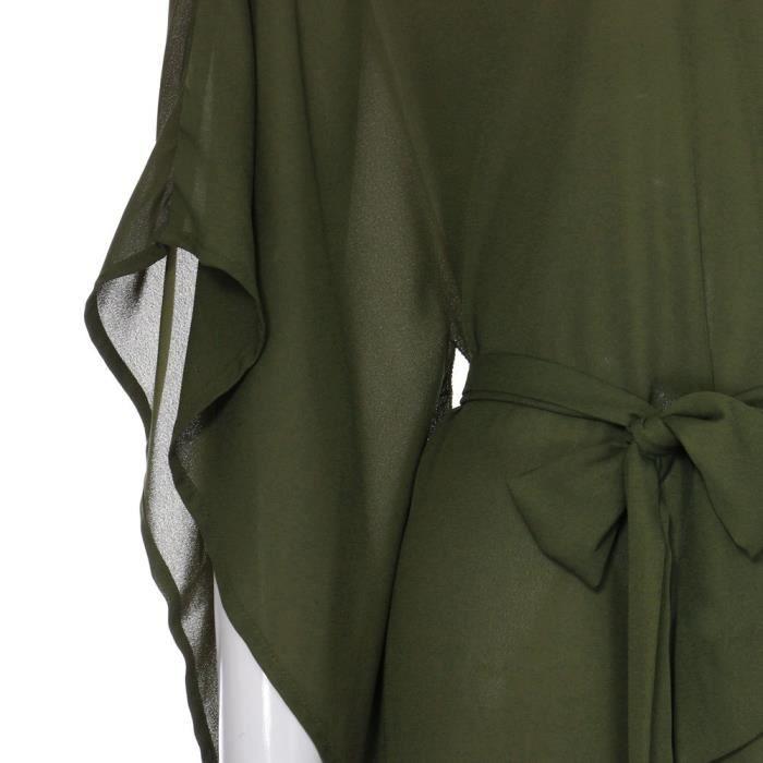Femmes en mousseline de soie bretelles irrégulière occasionnels Ultra Loose manches chauve-souris Mini robe @ZSS80227421GN
