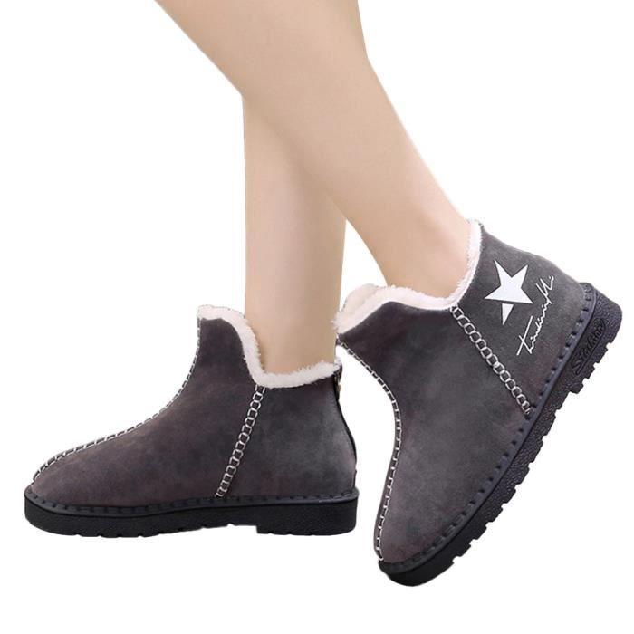 Chaudes Étoiles Bottesll10867 Neige Bottines Bottes Plates Hiver Chaussures Femmes Plateforme Cinq Plus 0wOdHw