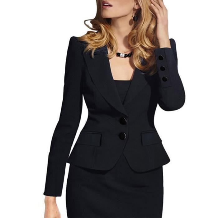 eb92b045a8f133 Veste costume femme slim fit Deux boucles Manches longues blazer Revers,noir