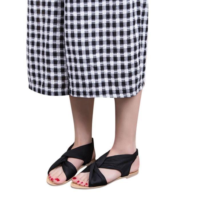 Slip Plage Peep Sandales De Des Toe Femmes On Noir Mode Ouvertes Casual Chaussures Plat Avec QtrsdhC