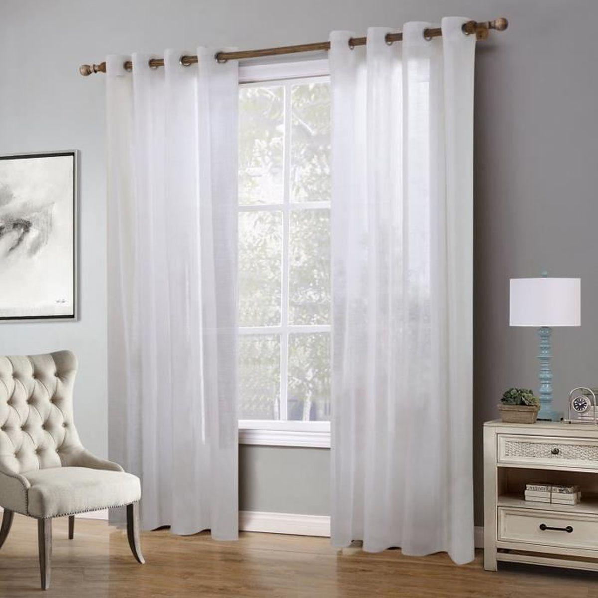 rideaux voilage x2 achat vente rideaux voilage x2 pas cher cdiscount. Black Bedroom Furniture Sets. Home Design Ideas