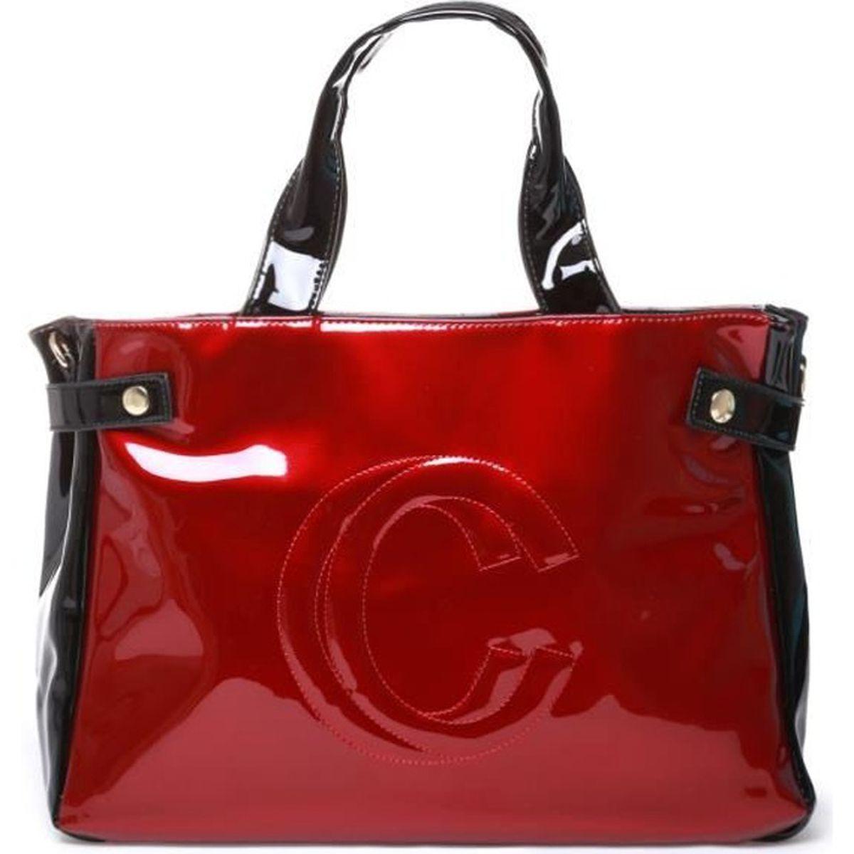 4af2e8d713 La Modeuse - Sac cabas femme vernis logotypé sur l'avant U Rouge ...