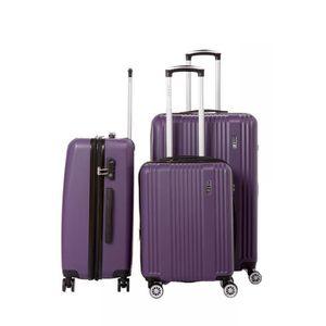SET DE VALISES Lot de 3 valises rigide 8 roues LYS B1516/3/PRUNE