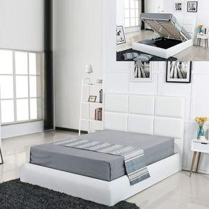STRUCTURE DE LIT Lit coffre design Alves - Blanc - 140x190