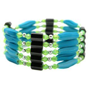 BRACELET - GOURMETTE bracelet collier magnetique aimant femme bleu