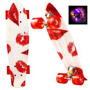 SKATEBOARD - LONGBOARD Skateboard rouge portable impression avec roue de