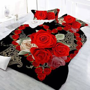 HOUSSE DE COUETTE SEULE Parure de lit roses rouges et jaune romantique pou