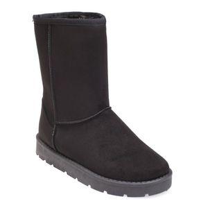 BOTTINE Boots noires simili daim en fausse fourrure-36