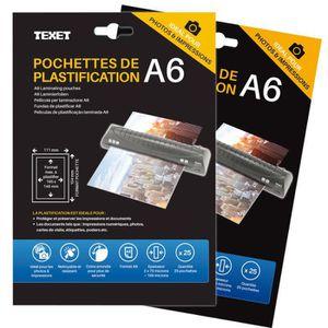 PLASTIQUE A PLASTIFIER 50 Feuilles De Plastification A6 150 Microns