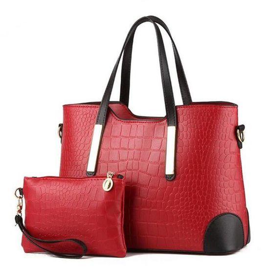 b023 Pièces Femme Main A Cuir Pu bllt Mode Classique Deux Rouge Sac CqP1xFw0C