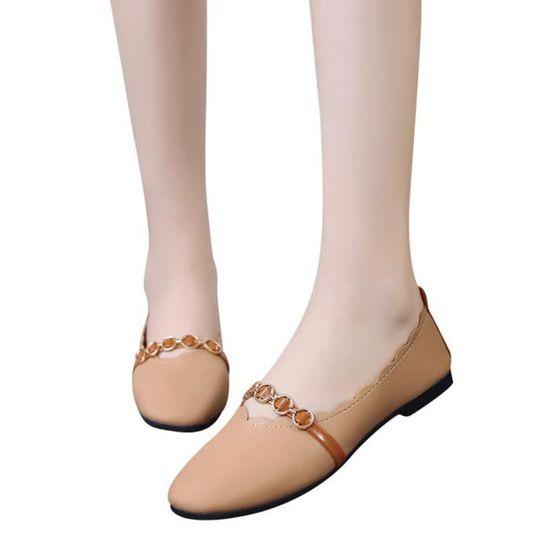 Femmes Shallow bout carré Pure Color plat Slip faible talon Chaussures Chaussures simples@marron Benjanies Marron Marron - Achat / Vente slip-on