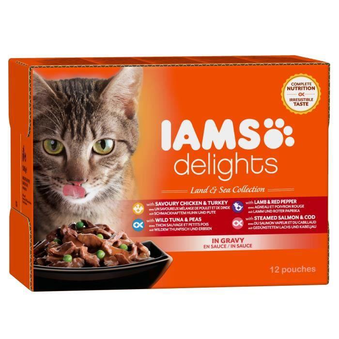 IAMS Delights multibox Saveurs Terre et Mer en sauce (Land & sea Collection) - Toutes Races - 12x85 g - Pour chat adulte