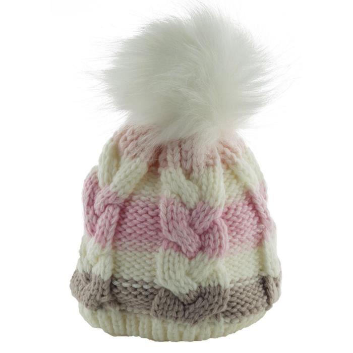 Bonnet à Pompon Tricoté pour Bébé Fille - 0 à 6 mois Rose Blanc ... 12f0007597d