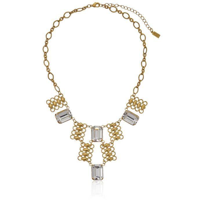 1928 Jewelry Womens 14k Gold-dipped Swarovski Crystal Bib Necklace, 16 + 3 Extender Z6CKZ