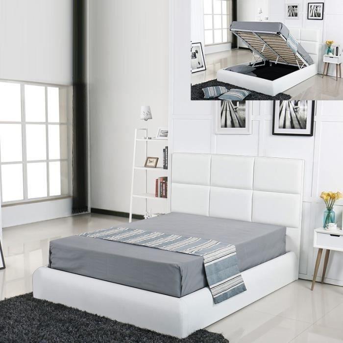 Lit Coffre Design Alves Blanc 140x190 Achat Vente Structure