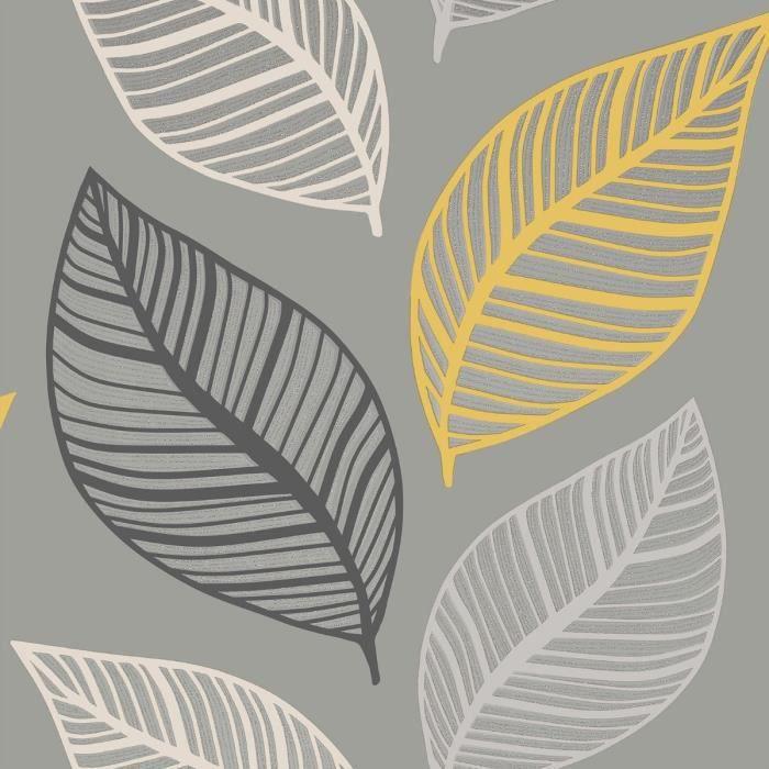Papier peint Crown Emporium Elba Leaf jaune   gris M1461   Achat