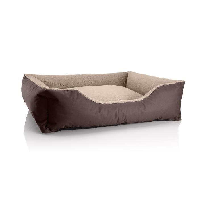 Lit Pour Chien Beddog Teddy,canapé,coussin, Panier Corbeille Lavable Avec Bordure [xl Env. 100x85cm, Melange (brun/beige)]