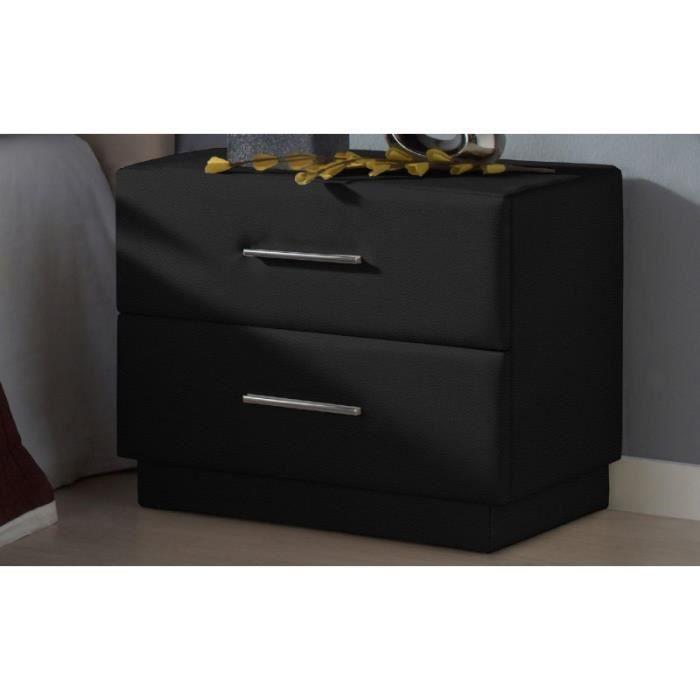 Tables de chevet deco couleur noir achat vente - Table de chevet cuir noir ...