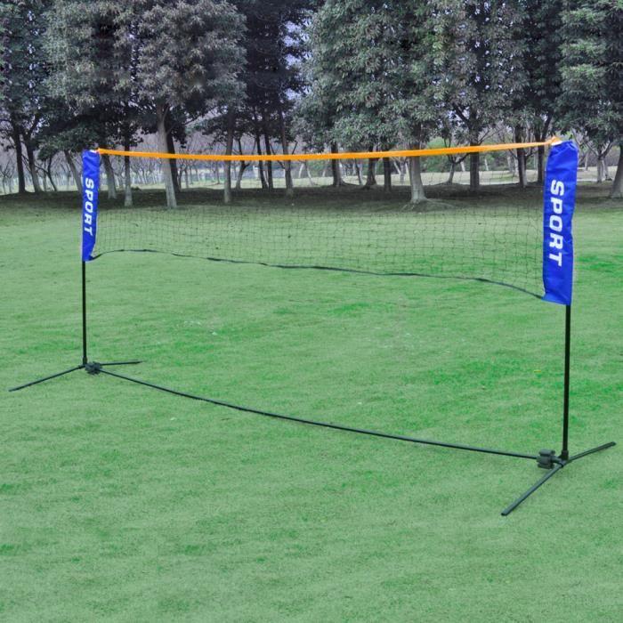 Filet de badminton/volley-ball avec sac de transport Cadre en Tube métallique résistant aux intempéries 500 X 155 cm