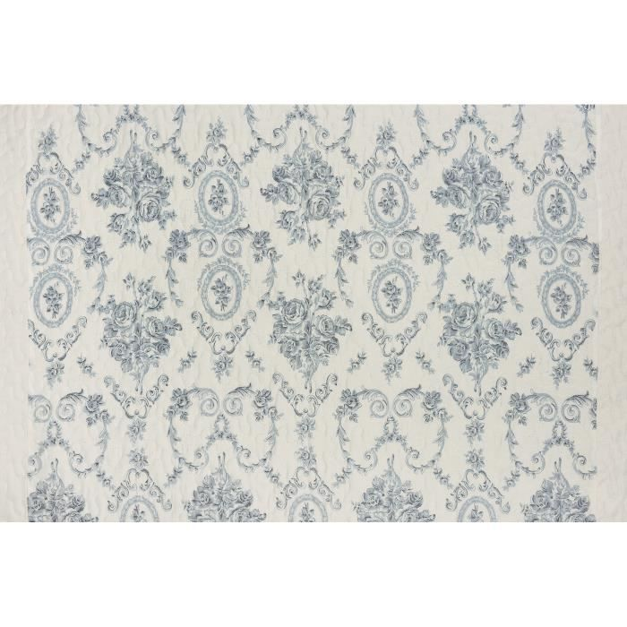 couvre lit toile de jouy bleu Jeté de lit en boutis à imprimés Toile de Jouy bleu et blanc 180 x  couvre lit toile de jouy bleu