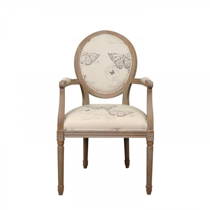 Fauteuil Louis XVI Papillon Achat Vente fauteuil Beige Cdiscount